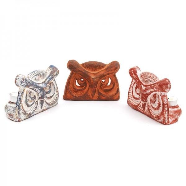 Kerzenhalter EULE, Keramik