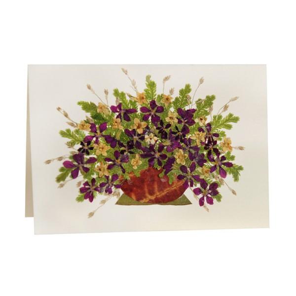 Mini-Grusskarte VIOLETTER STRAUSS, Wildblumen