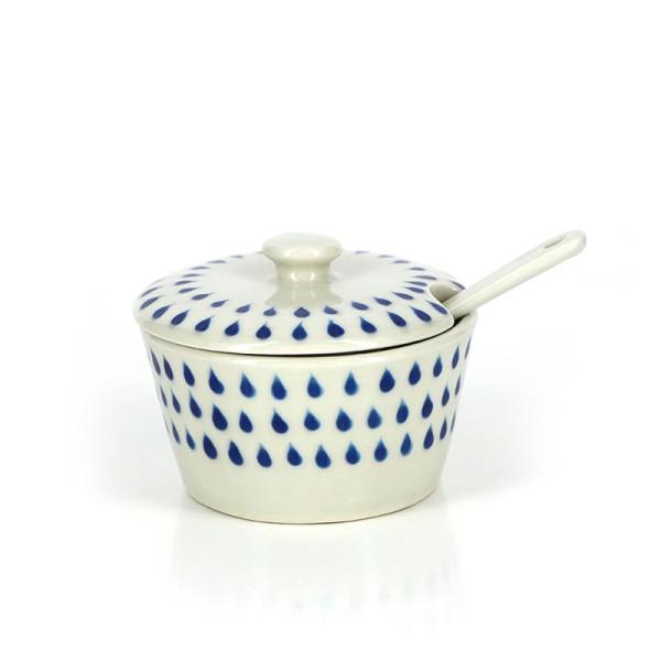 Zuckerdose DROPS mit Löffel, 3-teilig, Keramik
