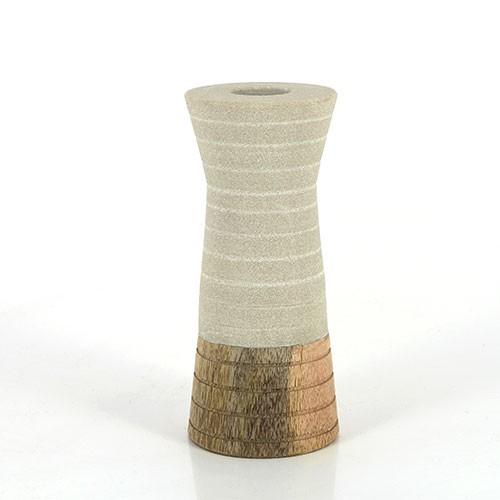 Kerzenhalter TRONC, Sandstein/Mangoholz