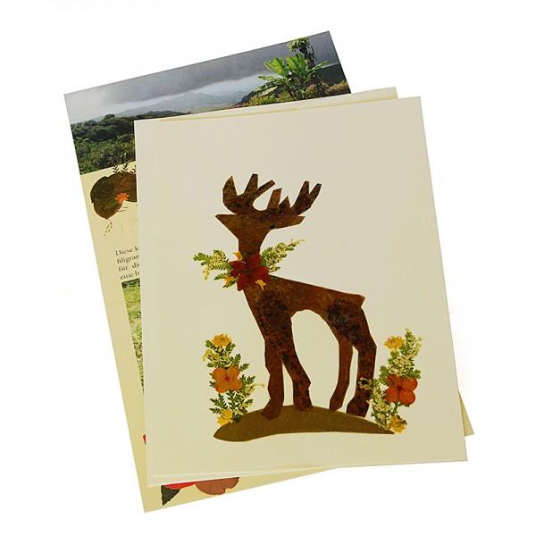 Grußkarte RENTIER, Wildblumen