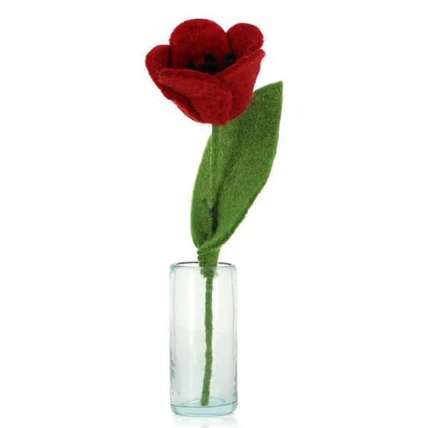 Blume TULPE ROT, Filz