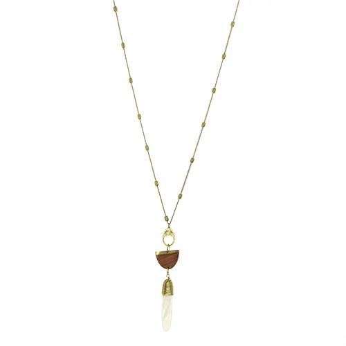 Halskette FOCUS, Messing/Holz/Muschel