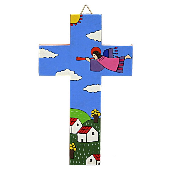 Kreuz ENGEL MIT TROMPETE, Holz