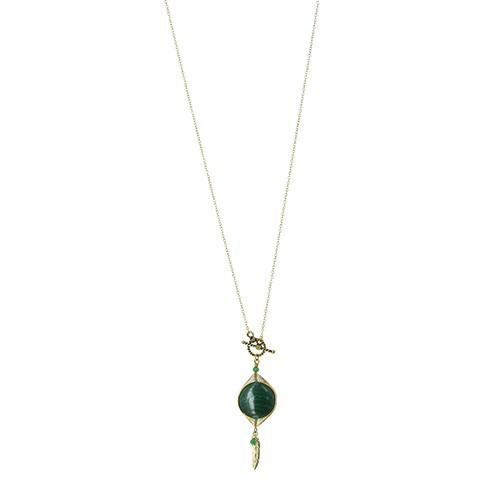 Halskette MALACHIT, Messing/Malachit