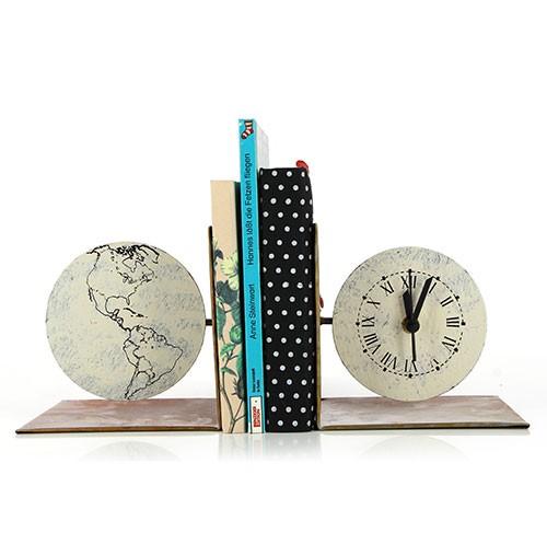 Buchstützenset mit Uhr WELTKUGEL, Metall