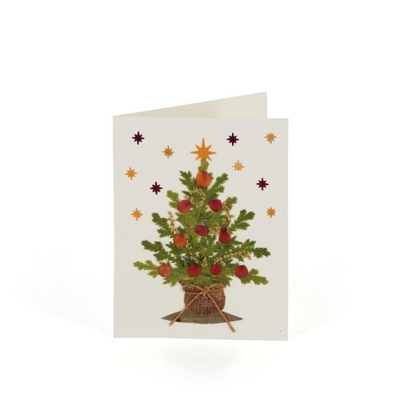 Mini-Grusskarte WEIHNACHTSBAUM, Wildblumen