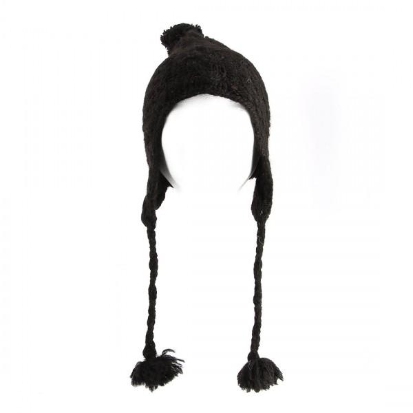 Mütze 100 % Alpaka schwarz