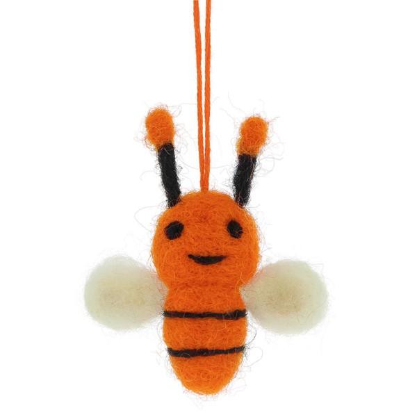 Anhänger BIENE, Filz orange, 6 cm