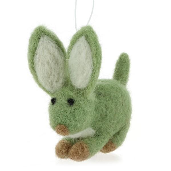Anhänger HASE, Filz grün