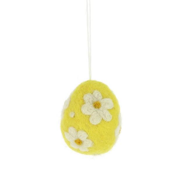 Filz Ei in gelb mit Blume