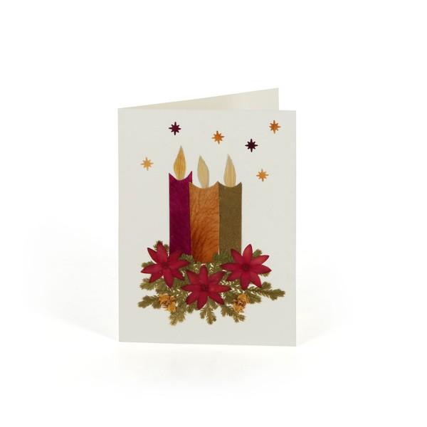 Mini-Grusskarte KERZEN, Wildblumen
