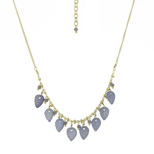 Halskette LEAVES, Messing/Knochenperlen