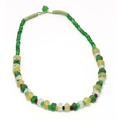 Halskette FRÜHLINGSWIESE, Recycling-Glas