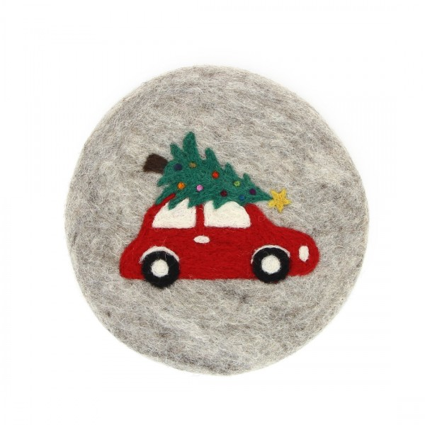 Topfuntersetzer CHRISTMAS CAR, Filz