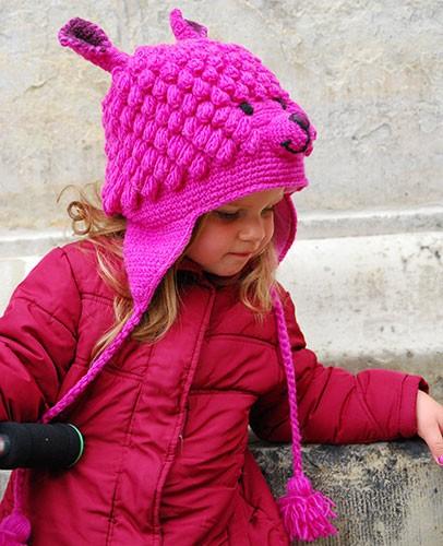Mütze LAMA PINK, Wolle