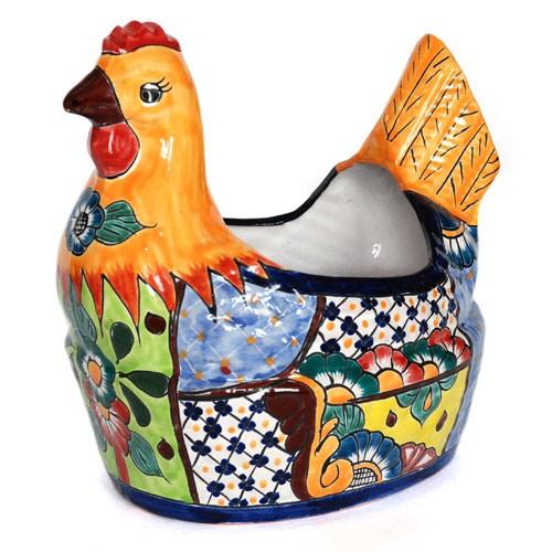Pflanzgefäß HUHN, Talavera-Keramik