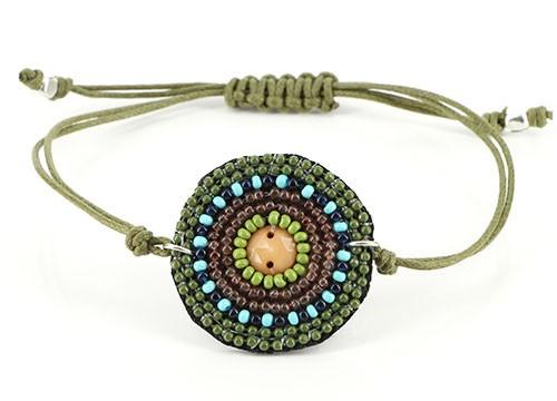 Armband BALI, Mini-Glasperlen/Baumwolle