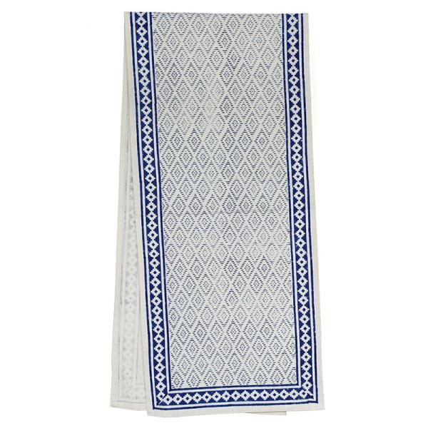 Tischläufer AZTEC WHITE INDIGO, Baumwolle