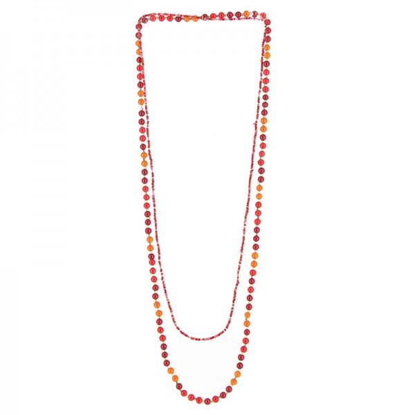 Halskette PERLENSPIEL, 2-lagig, Messing/Glasperlen