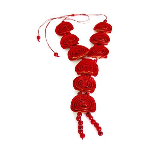 Halskette ROSEN, Orangenschalen/Asahi