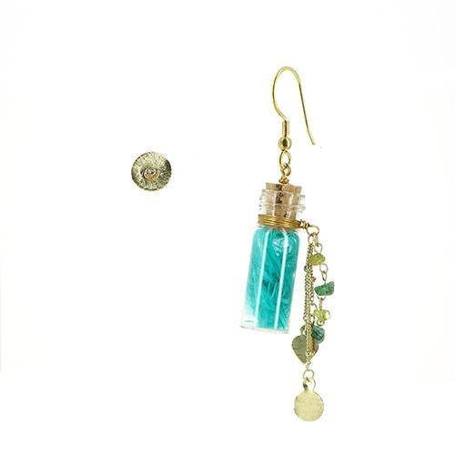 Ohrhänger und -stecker FLASCHENPOST, Messing/Glas