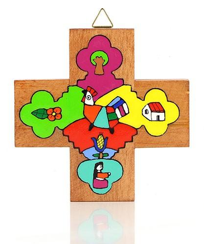 Kreuz quadratisch LANDSCHAFT MIT VÖGELCHEN, Holz