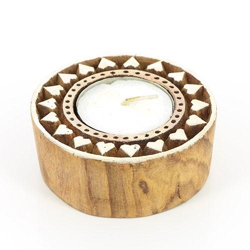 Teelichthalter KALAMKARI, Sheesham-Holz