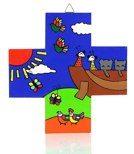 Kreuz quadratisch ARCHE NOAH, Holz