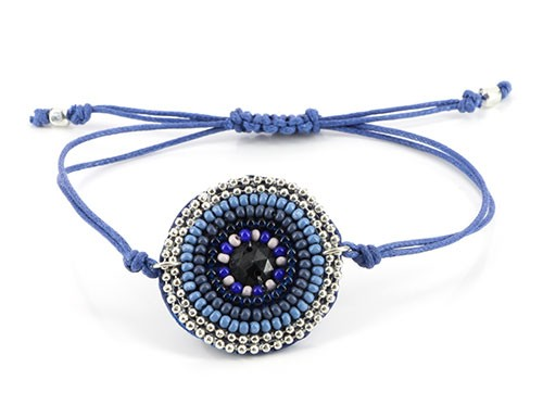 Armband FIJI, Mini-Glasperlen/Baumwolle