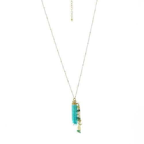 Halskette FLASCHENPOST, Messing/Glas