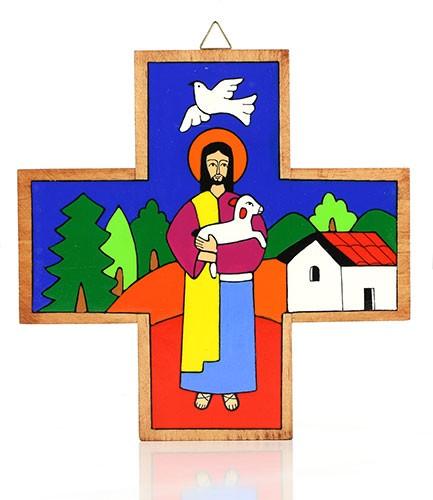 Kreuz quadratisch GUTER HIRTE, Holz