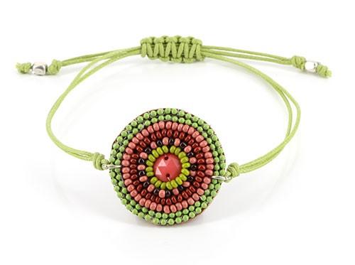 Armband ARUBA, Mini-Glasperlen/Baumwolle