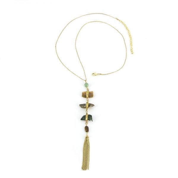 Halskette DELF, Messing/Achat