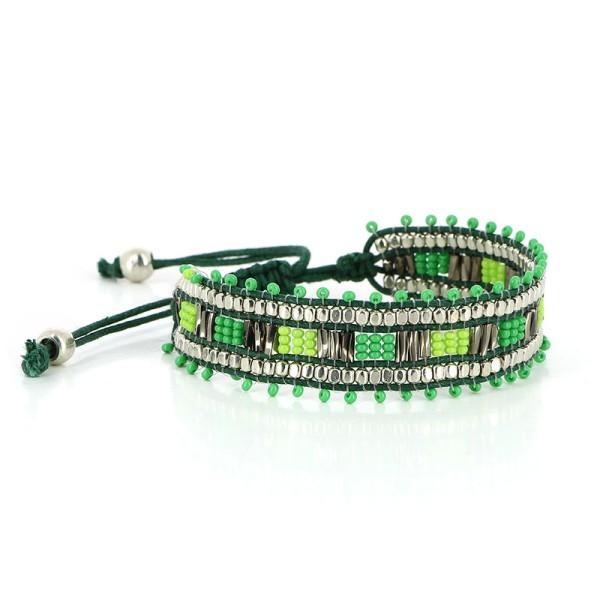 Armband ALBA, Baumwolle/Glasperlen/Messing